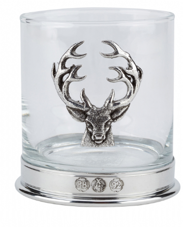 Very high quality pewterware Stag, 12oz whisky glass